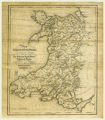 North Wales Drawing - A Topographical Dictionary Of Wales, Map Of North And South by Litz Collection
