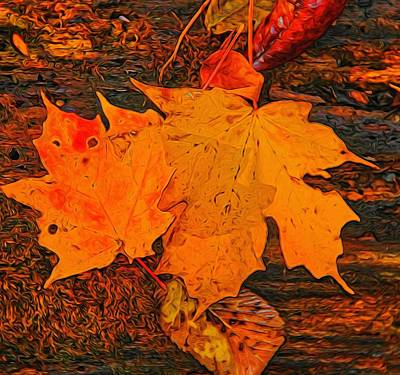 Red Leaf Digital Art - A Touch Of Autumn by Dan Sproul