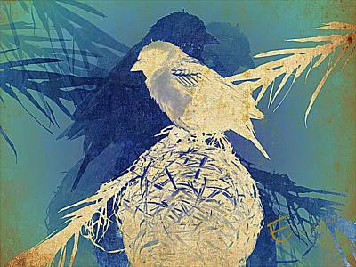 Finch Mixed Media - A Touch Of Blue by Ernestine Manowarda