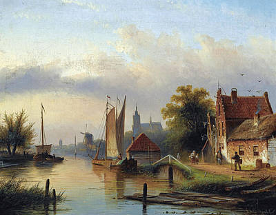 Painting - A Town By The River by Jacob Jan Coenraad Spohler