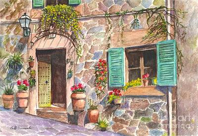 Floral Hand-painted Frame Painting - A Townhouse In Majorca Spain by Carol Wisniewski