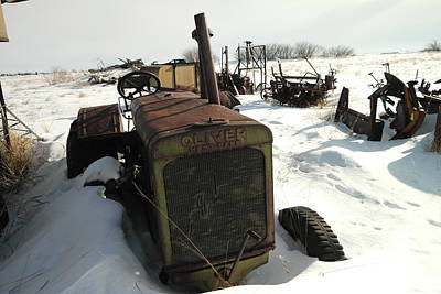 A Tractor In The Snow Art Print