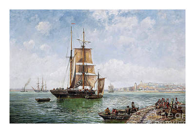 Drifting Painting - A Trading Brig Drifting Into A Continental Harbour by Pablo Romero