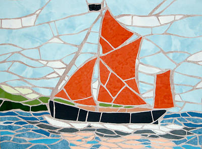 Mixed Media - A Traditional Cornish Boat Mosaic by Felicity Ball