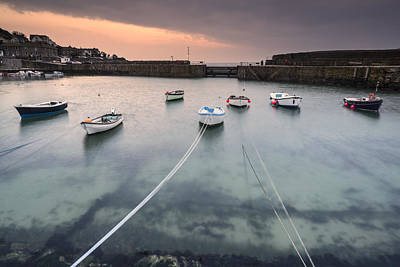 Mousehole Photograph - A Traditional Cornish Fishing Village Before Sunrise In Cornwall England by Matthew Gibson