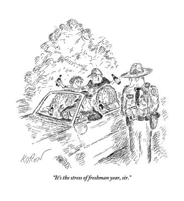 September 19th Drawing - A Traffic Cop Stands Next To A Car Filled by Edward Koren