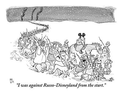 Mouse Drawing - A Trail Of People And Disney Characters March by Paul Noth