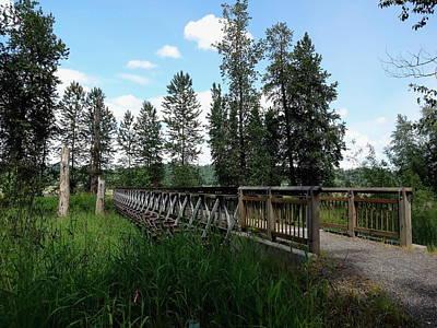 A Trail's Footbridge Art Print by Lizbeth Bostrom