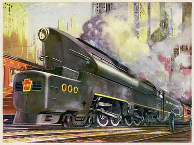 Pennsylvania Drawing - A Train Of The Pennsylvania  Railroad by Mary Evans Picture Library
