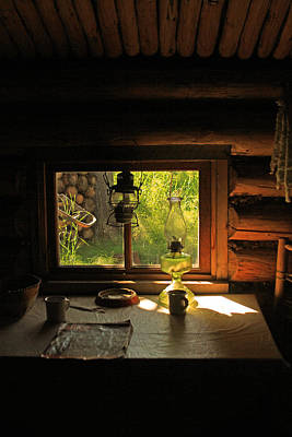 Photograph - A Trappers Cabin And Table by Ronald Olivier