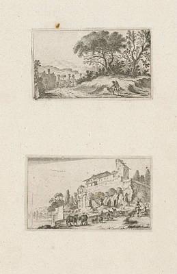 A Traveler And Ruins Of A Villa On A Hill Art Print