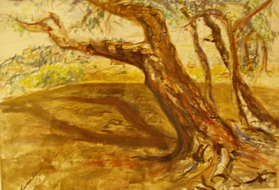 Painting - A Tree Bends Over Jerusalem Hills by Esther Newman-Cohen
