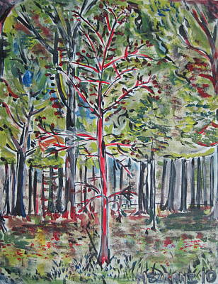 American Jewish Artists Painting - A Tree Grows In Marine Park by Jacob Mezrahi
