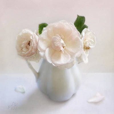 Print featuring the photograph A Trio Of Pale Pink Vintage Roses by Louise Kumpf
