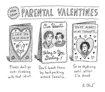 Parent Drawing - A Triptych Of Parental Valentines Day Cards That by Roz Chast