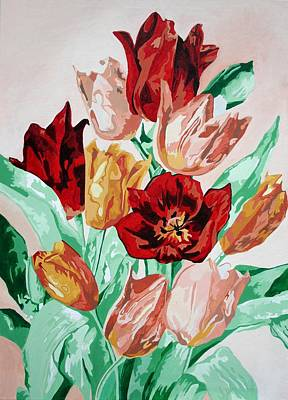 Painting - A Tulip Collection  by Taiche Acrylic Art