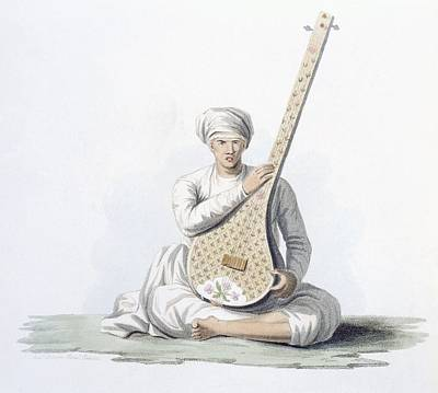 Indian Musical Instrument Painting - A Tumboora, Musical Instrument Played by Franz Balthazar Solvyns