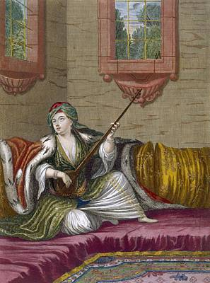Musicians Playing Drawing - A Turkish Girl Playing The Tehegour by French School