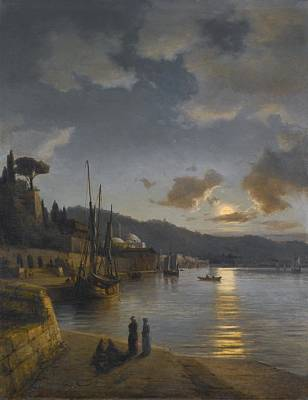 Jerusalem Painting - A Turkish Harbour By Moonlight by Celestial Images