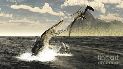 Aggression Digital Art - A Tylosaurus Jumps Out Of The Water by Arthur Dorety