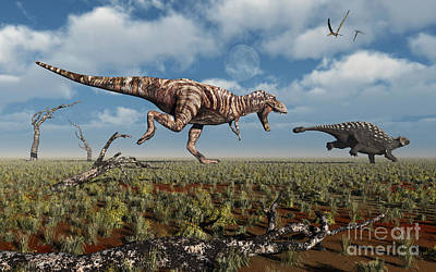 A Tyrannosaurus Rex Giving Chase To An Art Print by Mark Stevenson
