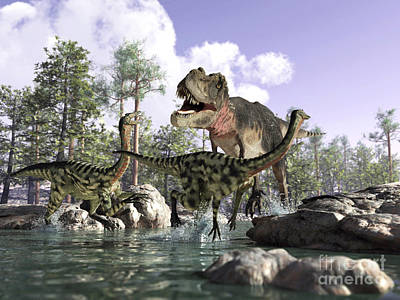 A Tyrannosaurus Rex Hunting Two Art Print