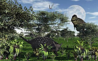 A Tyrannosaurus Rex Stalking Print by Mark Stevenson