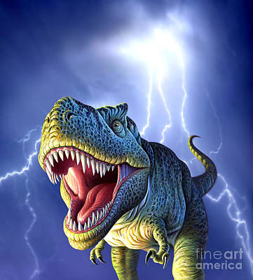 Bass Digital Art - A Tyrannosaurus Rex With A Blue Stormy by Jerry LoFaro