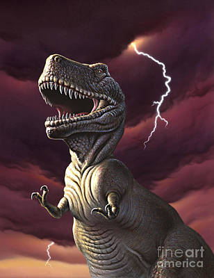 A Tyrannosaurus Rex With A Red Stormy Art Print by Jerry LoFaro
