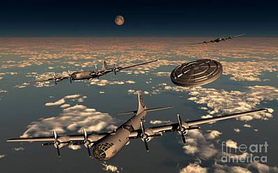 Superfortress Digital Art - A Ufo Buzzing A Group Of B-29 by Mark Stevenson