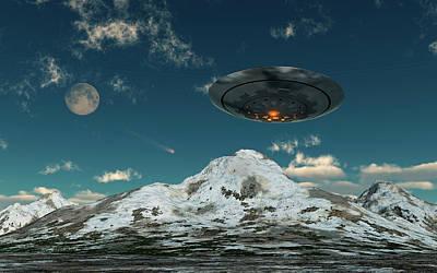 A Ufo Flying Over A Mountain Range Art Print by Mark Stevenson