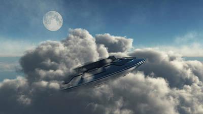 Fun Patterns - A Ufo Hiding In A Dense Cloud Formation by Mark Stevenson