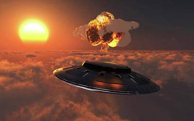 A-bomb Photograph - A Ufo Observing An Atomic Bomb Blast by Mark Stevenson