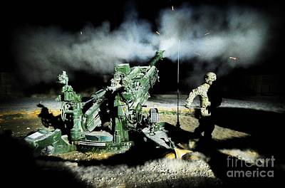 1st Base Photograph - A United States Gun Crew Fire Illumination Rounds At Forward Operating Base Hadrian by Paul Fearn