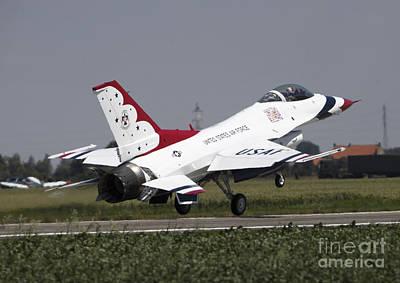 On The Runway Photograph - A U.s. Air Force F-16 Thunderbird Jet by Timm Ziegenthaler