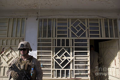 Afghanistan National Police Photograph - A U.s. Marine Provides Security by Stocktrek Images
