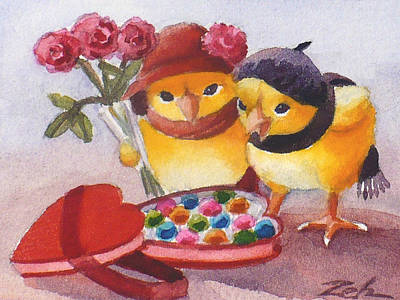 Painting - A Valentine Heart For Baby Chicks by Janet  Zeh