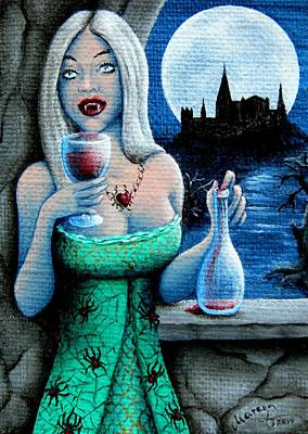 Creepy Castle Painting - A Vampire's Treat by Mareen Haschke