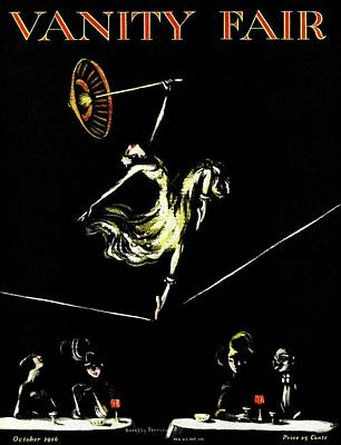 A Vanity Fair Cover Of A Woman Tightrope Walking Print by Artist Unknown