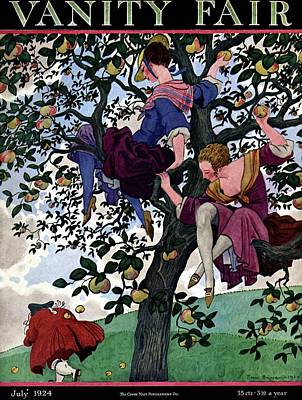 A Vanity Fair Cover Of Women Throwing Apples Art Print by Pierre Brissaud