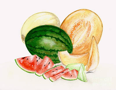Painting - A Variety Of Melons Illustration by Nan Wright