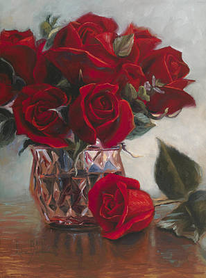 A Vase Of Love Art Print by Lucie Bilodeau