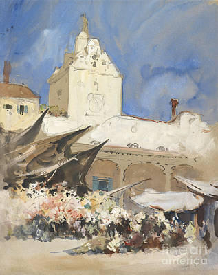 Impressionism Drawings - A Vegetable Market in Venice by Celestial Images