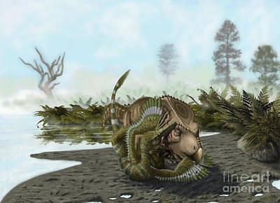 Velociraptor Digital Art - A Velociraptor Attacks A Protoceratops by Yuriy Priymak