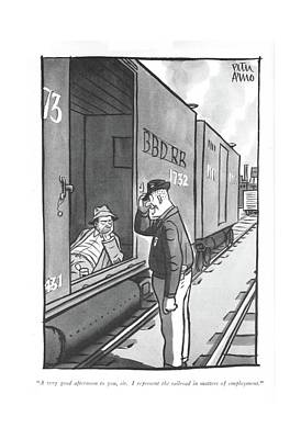 Train Drawing - A Very Good Afternoon by Peter Arno