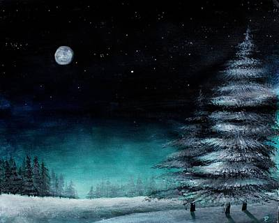 Snowy Night Painting - A Very Still Night by Erin Scott