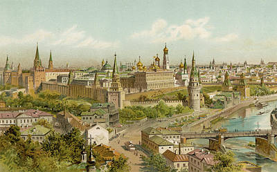 Moscow Drawing - A View Across Moscow  Encompassing by Mary Evans Picture Library