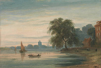 A View Along The Thames Towards Chelsea Old Church Art Print by John Varley