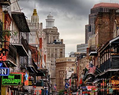 Bourbon Street Photograph - A View Down Bourbon Street by Jarrod Erbe
