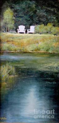 Pond Painting - A View For Two  by Lori  McNee